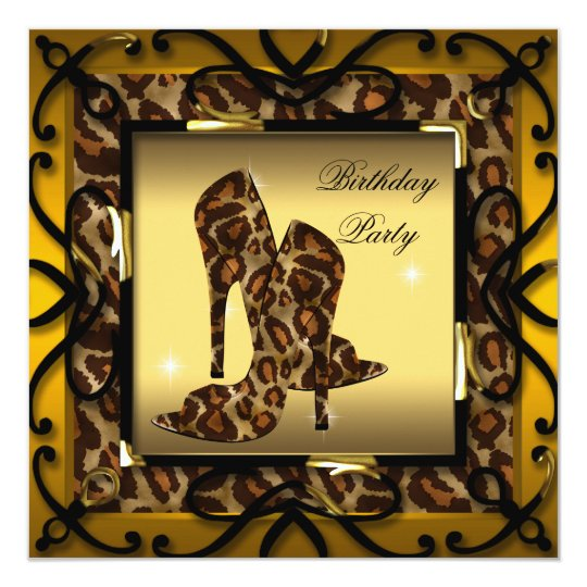 High Heel Shoes Wild Gold Leopard Birthday Party