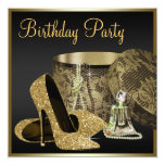 High Heel Shoes Womans Black and Gold Birthday Invitations