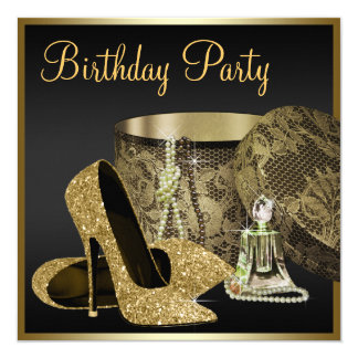 "High Heel Shoes Womans Black and Gold Birthday 5.25"" Square Invitation Card"
