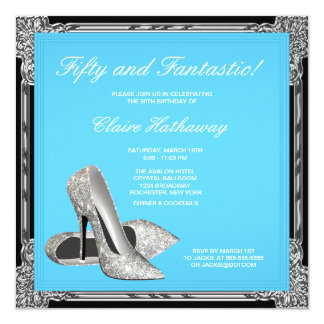 High Heel Shoes Womans Teal Blue Birthday Party 13 Cm X 13 Cm Square Invitation Card