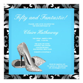 High Heel Shoes Womans Teal Blue Birthday Party Personalized Invites