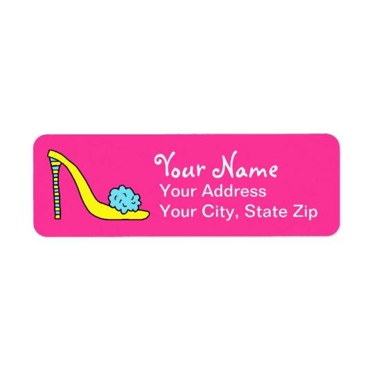 High Heeled Stiletto Shoe Pink Address Label