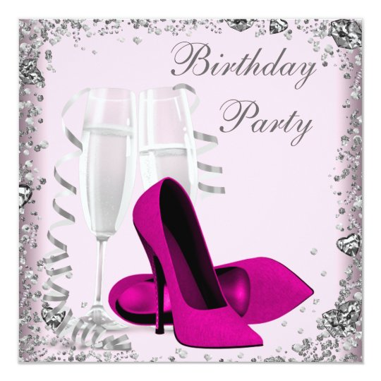 High Heels Champagne Pink Birthday Party Card