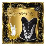High Heels Chandelier Lace Corset Black Gold 13 Cm X 13 Cm Square Invitation Card