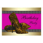 High Heels & Fuchsia Hot Pink Leopard Birthday Personalised Invite