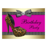 High Heels & Fuchsia Hot Pink Leopard Birthday Personalised Invitation