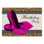 High Heels Hot Pink Leopard Birthday Party Personalized Invitations