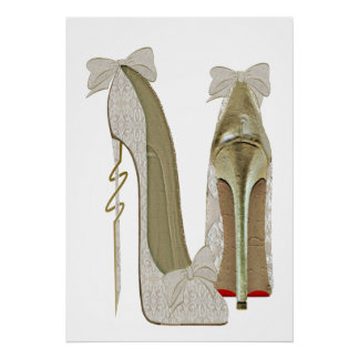 High Heels Lace and Bows Stiletto Shoes Art Poster