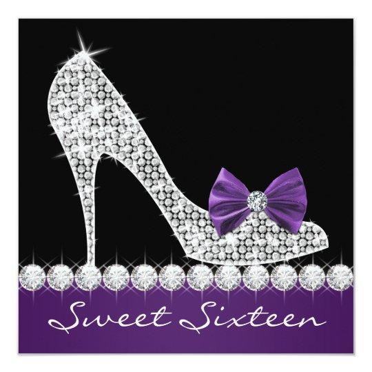 High Heels Purple Sweet Sixteen Birthday Party Card