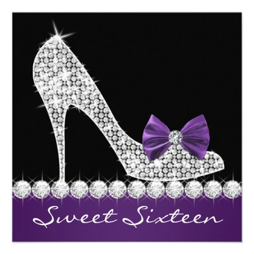 High Heels Purple Sweet Sixteen Birthday Party Personalized Invite