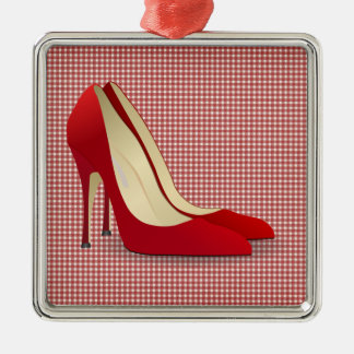 high heels red christmas ornament