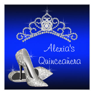 High Heels Tiara Royal Blue Quinceanera Announcement