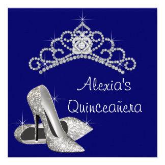 High Heels Tiara Royal Blue Quinceanera Announcements