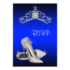 High Heels Tiara Royal Blue Quinceanera RSVP Card