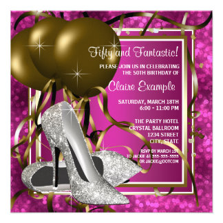 High Heels Womans Hot Pink Birthday Party Personalized Announcement