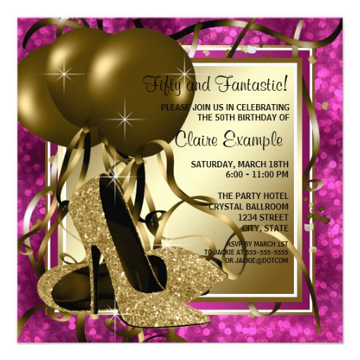 High Heels Womans Hot Pink Birthday Party Announcement