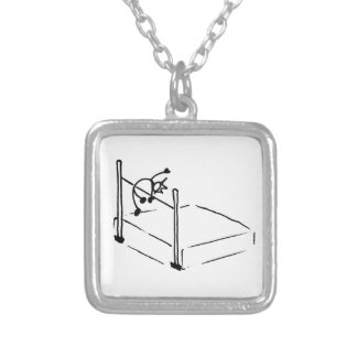 High Jump StickMan Track and Field Silver Plated Necklace