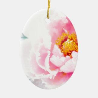 High Key Pink Peony Flower Ceramic Oval Decoration