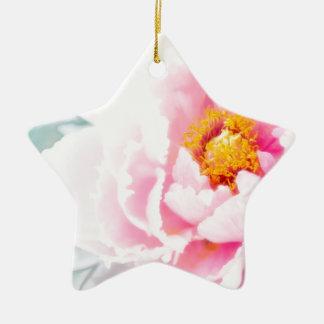 High Key Pink Peony Flower Ceramic Star Decoration
