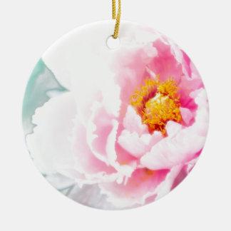 High Key Pink Peony Flower Round Ceramic Decoration