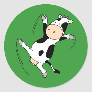 High Kicking Cow.png Classic Round Sticker