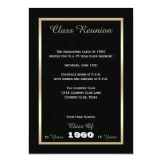 High School Class Reunion Black and Gold 13 Cm X 18 Cm Invitation Card