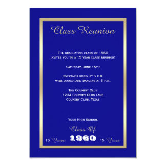 High School Class Reunion Classic Blue Gold Accent 13 Cm X 18 Cm Invitation Card