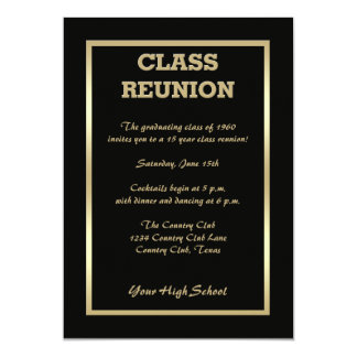 High School Class Reunion in Black 13 Cm X 18 Cm Invitation Card