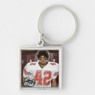 High School football player Silver-Colored Square Key Ring