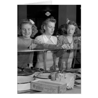 High School Girls, 1940s Card