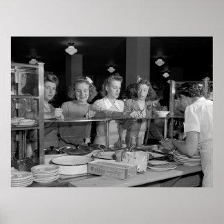 High School Girls, 1940s Poster