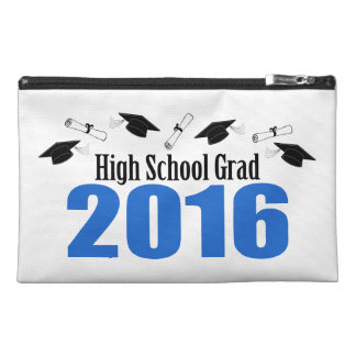 High School Grad 2016 Caps And Diplomas (Blue) Travel Accessory Bags