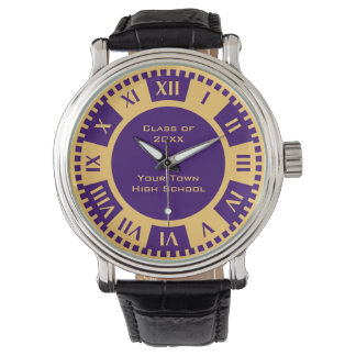 High School Graduation Gold and Purple Class of Wrist Watches