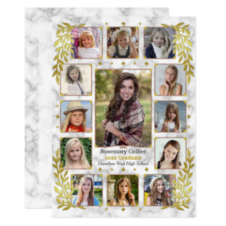 High School Graduation Party Marble Photo Collage Card