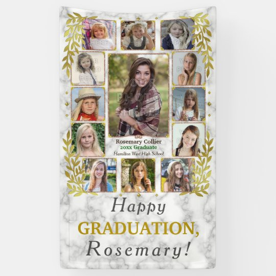 High School Graduation Party Photo Collage Marble