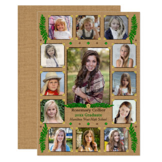 High School Graduation Party Rustic Photo Collage Card