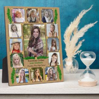 High School Graduation Photo Collage   Burlap Fern Plaque