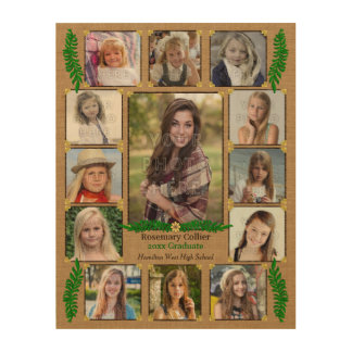 High School Graduation Photo Collage | Burlap Fern Wood Print