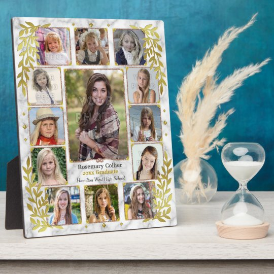High School Graduation Photo Collage | Gold Marble
