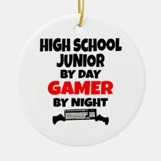 High School Junior by Day Gamer by Night Round Ceramic Decoration