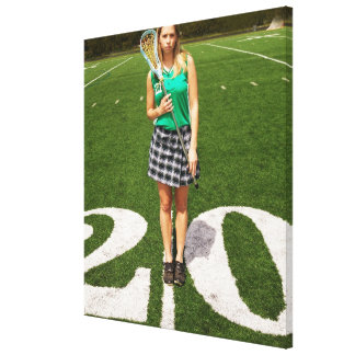 High school lacrosse player (16-18) holding canvas print