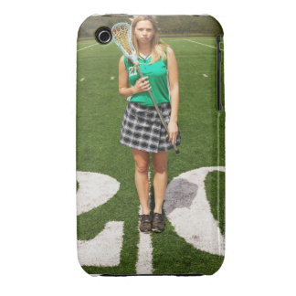 High school lacrosse player (16-18) holding iPhone 3 cases