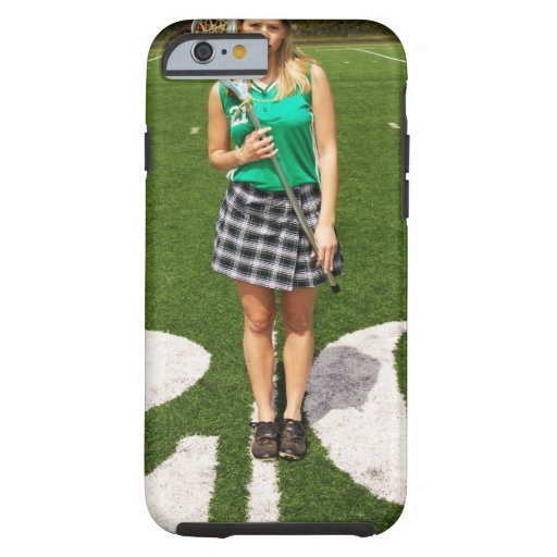 High school lacrosse player (16-18) holding iPhone 6 case