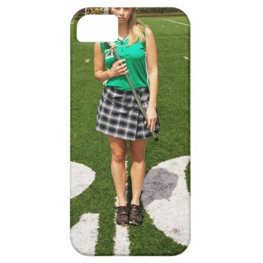High school lacrosse player (16-18) holding iPhone 5 cases