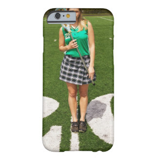 High school lacrosse player (16-18) holding barely there iPhone 6 case