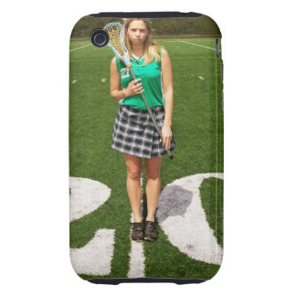 High school lacrosse player (16-18) holding tough iPhone 3 covers