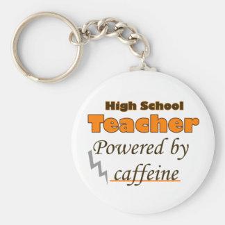 High school Teacher Powered by caffeine Basic Round Button Key Ring