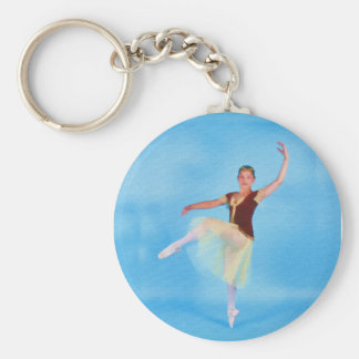 High Stepping Ballerina Basic Round Button Key Ring