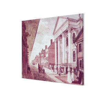 High street with the first Presbyterian Church Canvas Print