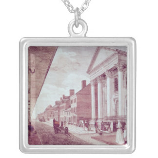 High street with the first Presbyterian Church Silver Plated Necklace